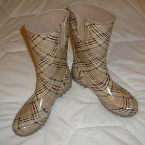 Sperry Top Sider Cream Plaid Rain Boots Women's 10